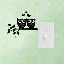Owls In Love Heart Couple Removable Vinyl Wall Decal Switch Sticker Home Decor Wedding Room 3SS0216(China)
