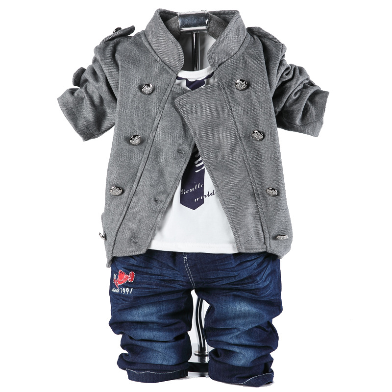 spring autumn cotton denim newborn boys set double breasted coat+t shirt+jeans 3pcs toddler boys suits<br><br>Aliexpress