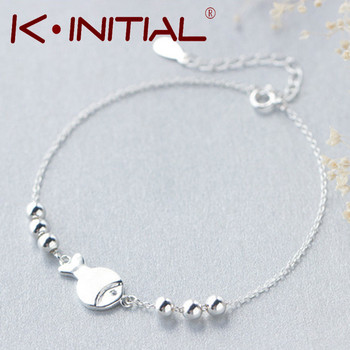 Kinitial 1Pcs Silver Chain Bracelet Fashion Fish Ball Bracelet For Women Animal Fish Charm Bracelets Bangles Luxury Cuff Jewelry