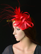 2017 NEW 20 colours Red base feather fascinator sinamay hat wedding hat for Ascot Races Kentucky derby Tea Party.FREE SHIPPING