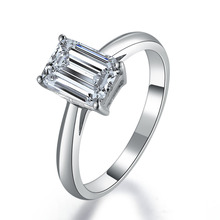 1Ct Emerald Cut Synthetic Diamonds Engagement Solitaire Ring for Her Solid 925 Sterling Silver Ring White Gold Color Jewelry