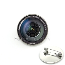 Attractive trendy brooch jewelry DSLR Lenses camera glass cabochon Lens Photography Camera pins gift for father KC371(China)