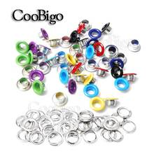50pcs Hole 5mm Metal Colorful Eyelets with Gromment for Leathercraft DIY Scrapbooking Shoe Belt Cap Bag Tag Clothes Accessories