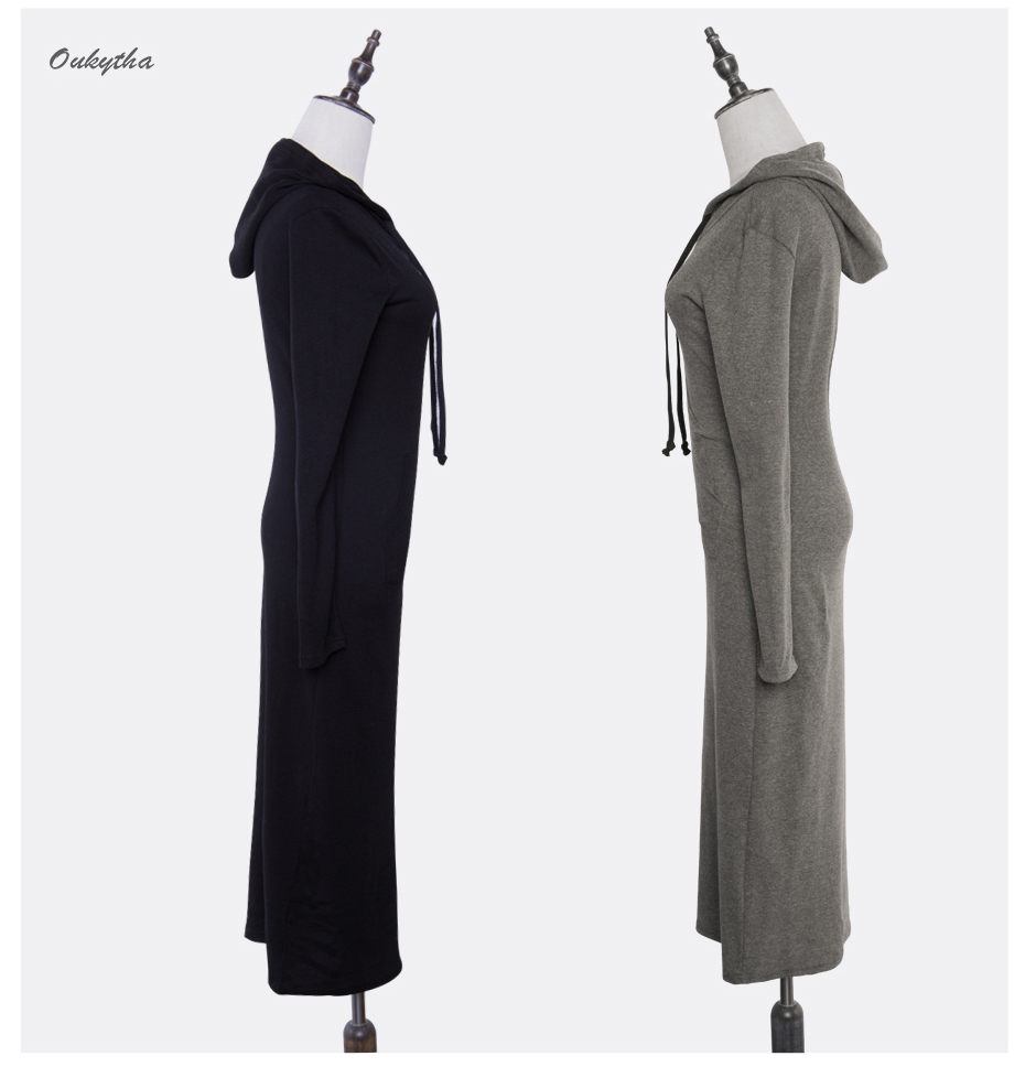 Oukytha 17 New Autumn&Winter Casual Long A-line Ankle-length Dress Hooded Pockets Cotton Long Sleeves Lady Thick Dress M15322 13