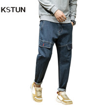 KSTUN Harem Jeans Men Pants Knee Fake Pockets Designer Retro Blue Tapered Hip Hop Streetwear Loose Dance Denim Casual Trousers(China)