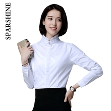 Classic new fashion women  white blouse stand collar simple causual elegant office lady wear good quality women clothes