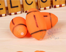 NEW Dog Squeaky Toy For Pet Dog Chew Toy Small Rubber Squeaky Rugby Ball Orange