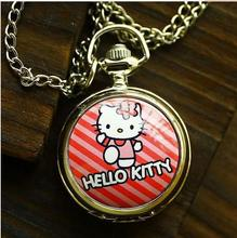 Anime cartoon Hello Kitty lovely quartz Pocket watches necklace  children pendants gift