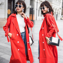 women red long trench coat ladies casual double breasted ribbons loose trench coat plus size large big size trench coat 2017(China)