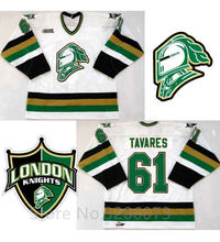 London Knights #61 John Tavares White Black Hockey Jersey Embroidery Stitched Customize any number and name Jerseys(China)
