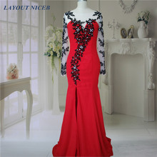 Long Sleeve Black Lace Red Evening Dresses 2015 Floor Length O Neck Formal with Applique(China)