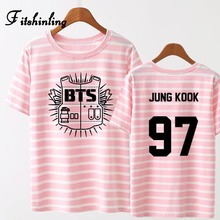 Fitshinling BTS bangtan boy striped summer t-shirts paired tops tees plus size couple clothes harajuku letter number t-shirt hot(China)