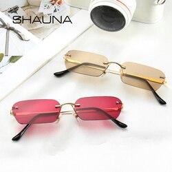 Мужские безободковые солнцезащитные очки SHAUNA, трендовые квадратные солнечные очки прозрачного, красного, синего, желтого цвета