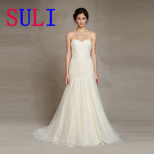 SG191 Simple Wedding Dress Sweetheart  Pleated Free Veil Bridal Gown 2016 Top Sale In Italy