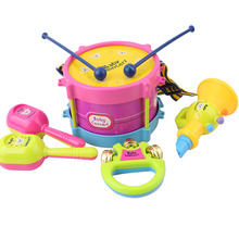 5pcs Educational Baby Kids Roll Drum Musical Instruments Band Kit Children Toy Baby Kids Gift Set(China)