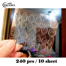 TKGOES High Quality 5sheet/10 sheets/lot Double-side Glue Sticker Transparent Flexible 240pcs Fake Nail Tips Adhesive Nail Glue