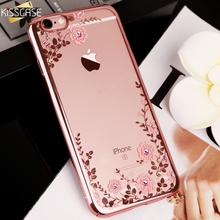 KISSCASE Glitter Case for iPhone 5 5s se Luxury Patterned Cases For iPhone X 7 Plus 6 6s Plus Diamond Flower Girly Phone Cover(China)