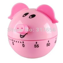 Free Shipping,5pcs/lot, Pink Cartoon Pig Kitchen Cooking Timer 60 Minute Gift - Long Ring Chime