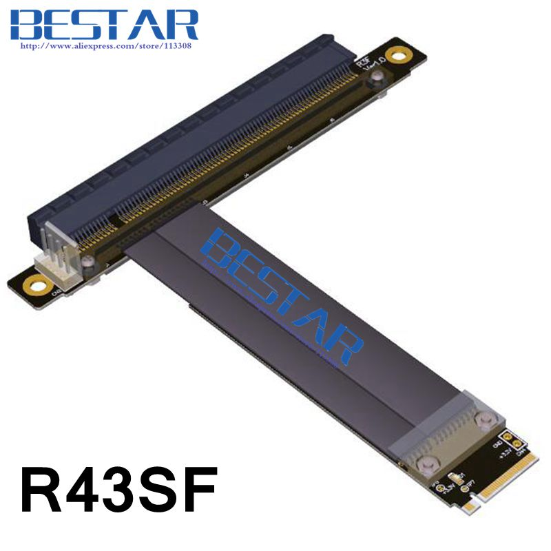M.2 NGFF NVMe KeyM A+E 2230 2242 2260 2280 To PCI-e 16x Riser Card Cable 1FT 2FT PCI-Express x16 Extender PCIe Gen3.0 32G/bps<br>
