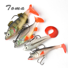 TOMA 4PCS Long Tail Soft Lead Fish Fishing Lures Luminous Sea Fishing Tackle Soft Bait Bass Lure With Treble Hooks(China)
