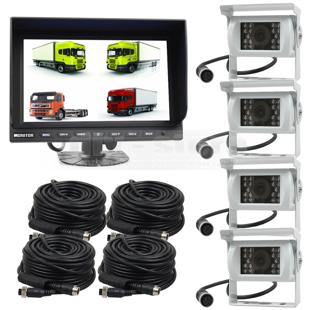 DIYSECUR 9 Inch Split QUAD Monitor + White 4 x CCD IR Night Vision Rear View Camera Waterproof Monitoring System(China)