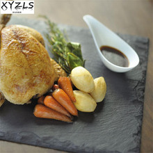 XYZLS Square Natural Slate Plate Europe Popular Tray Slate Cheese Pizza Stone Steak Dish Flat Plate Fruit Food Tray