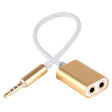 3.5mm Male to 2 Females Aux Cable Aluminum 3.5 Male to Female Audio Headphone Splitter Cable Adapter for Smartphone