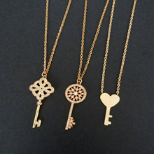 DIANSHANGKAITUOZHE Love Jewelry Stainless Steel Heart Key Necklace Pendant Luxury Cz Luck Clover Charm Collier For Women 2017