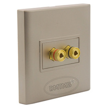 Speaker sound box banana socket wall plate with female to female connector and  golden plate housing