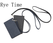 new arrivals high quality PU leather card holder hanging chest card bag bussiness credit card ID holder working bag