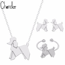Chandler 2017 Brand Origami Lovely Balloon Poodle Dog Chian Necklace Earring Ring Summer Jewelry Set Dog Love Pets Wedding Gifts