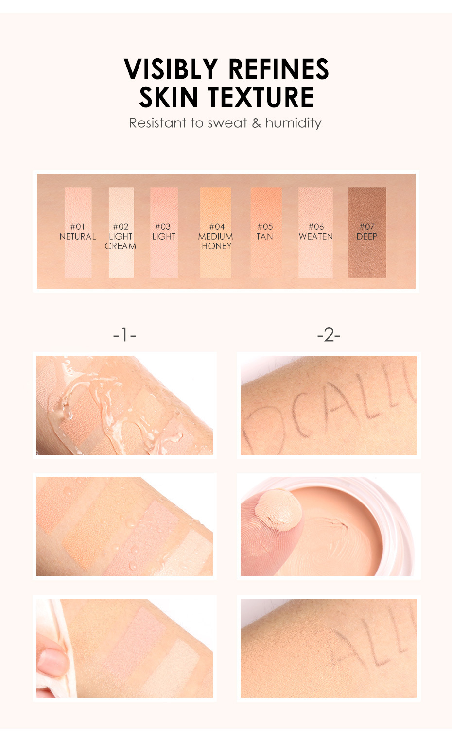 FOCALLURE 7 Colors Full Cover Concealer cream Makeup Primer Cover Foundation Base Lasting Oil Control Cream Concealer 6