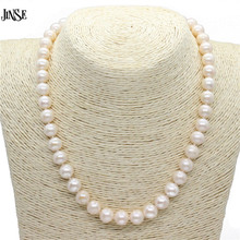 JINSE 9-10 mm Real Natural Pearl Necklace For Women Freshwater Pearl Jewelry BLS211(China)