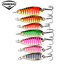 1PC Top Quality Fishing Lures 7 color fishing tackle 3-5-7.5g metal Lure fishing bait 6-8-10# high carbon hook spoon lures