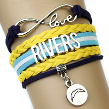 Infinity Love Chargers Rivers Fans Multilayer Bracelet Navy Gold Leather Women's Fashion Sports Gift Jewelry