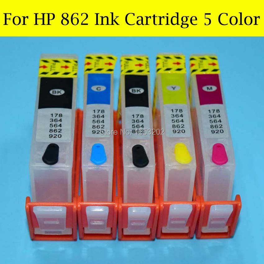 5 Pieces/Set 862 Ink Cartridge For HP862 XL Ink Cartridge For HP B8558 C5388 C6388 D5468 C309a C309g Printer Cartridge<br><br>Aliexpress