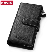 Buy KAVIS Genuine Leather Wallet Men Male Clutch Walet Portomonee Rfid PORTFOLIO Long Vallet Perse Card Holder Handy Coin Purse for $15.59 in AliExpress store
