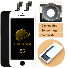 10pcs 100% Brand new Alibaba china No Dead Pixel best quality For iPhone 5S LCD Test OK +Frame+Camera Holder,Free shipping