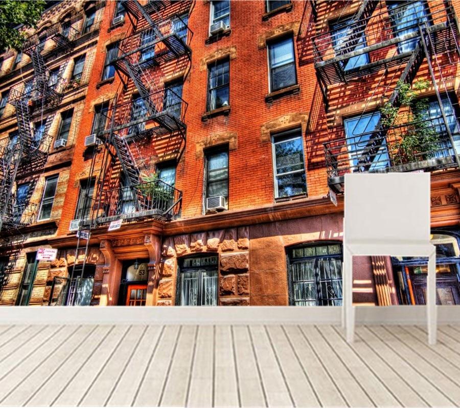 Custom 3D USA Houses Brick Balcony Cities wallpapers,bar ktv living room tv sofa wall bedroom large murals papel de parede <br>