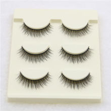 3 Pairs Handmade Soft Cross Long Curl 3D False Eyelashes Natural Fake Eye Lashes Makeup Extension Tools