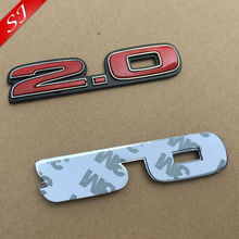 2.0 3D Chrome ABS logo red Car Stickers Emblem Badge rear trunk Displacement Decals Auto accessories