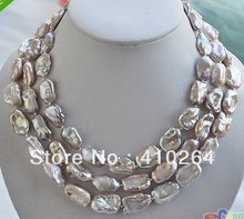 $wholesale_jewelry_wig$ free shipping 3row  LAVENDER BAROQUE KESHI REBORN biwa PEARL NECKLACE