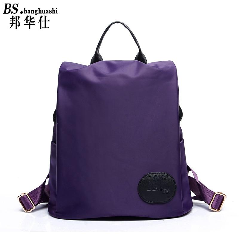 2017 Ladies Backpack Nylon Shoulder Bag Student Pack Pure Color Teen Girl Travel Casual Bag Bolsas Mochilas Sac A Dos<br><br>Aliexpress