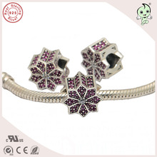 Buy High Real Silver Jewelry Accessories Beautiful 925 Sterling Silver Pink Stone Paving Flower Design Charm for $18.41 in AliExpress store