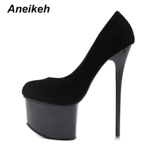 Buy Aneikeh Sexy Pumps Wedding Women Fetish Shoes Concise Woman Pumps Latform High Heel Stripper Flock Pumps 16 cm Size 34-40