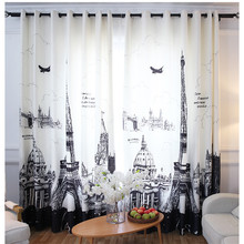 Velvet Polyester 3D blackout curtain Customized window treatments blackout curtains for living room Curtains With Eiffel Tower(China)