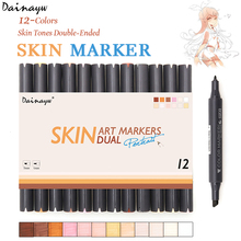 Dainayw 12 Colors Sketch Skin Tones Marker Pen Artist Double Headed Alcohol Based Manga Art Markers for School Supplies(China)