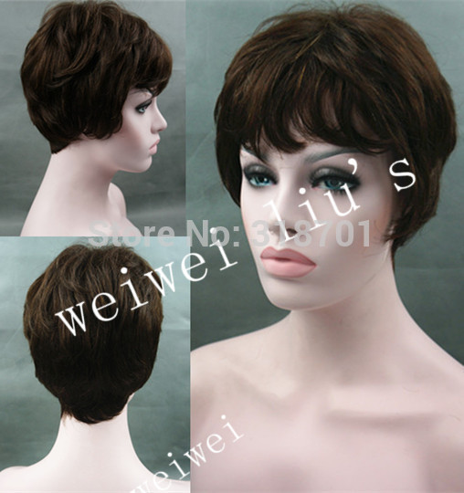 Classic Cap Brazilian Hair wig Short Natural Straight Wig Brown hair free shipping<br><br>Aliexpress