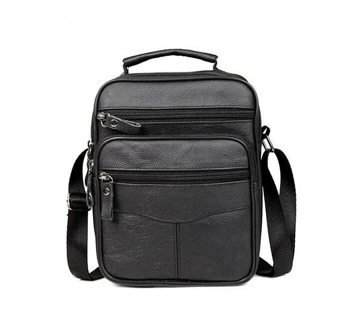 2017 New Fashion  Genuine  Leather Man Bag Mens Messenger Bag High Quality Black Square Section Vertical Shoulder Bag Business<br><br>Aliexpress