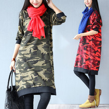Plus Size 4XL 2017 Autumn Women European Fashion Camouflage Military Print Tops Ladies Female Large Long Sleeve Basic Dresses
